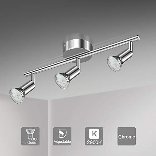 Unicozin LED Deckenleuchte, 3 Flammig LED Deckenstrahler Schwenkbar Chrom, Inkl. 3 x 3.5W GU10 LED Lampen, 380LM, Warmweiß, LED Deckenspot LED Deckenlampe
