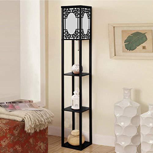 Chinese decoratieve houten bloempot met houten shelf stof LED floor lamp voor woonkamer slaapkamer decoratie 3