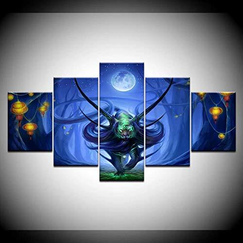 Ölgemälde Wandkunst Leinwanddrucke Abstract 5pcs Blue Tiger Laterne Modern Modular Wandbild für Wohnzimmer Home Decoration Kein Rahmen-40x60_40x80_40x100cm