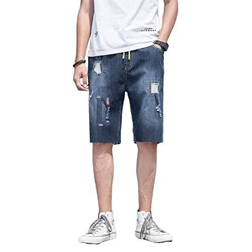 Pantalones Cortos de Verano para Hombre, Pantalones Rasgados de Cinco Puntos, Pantalones Vaqueros Holgados Informales de Talla Grande, Dobladillo Irregular de Moda con cordón XXL