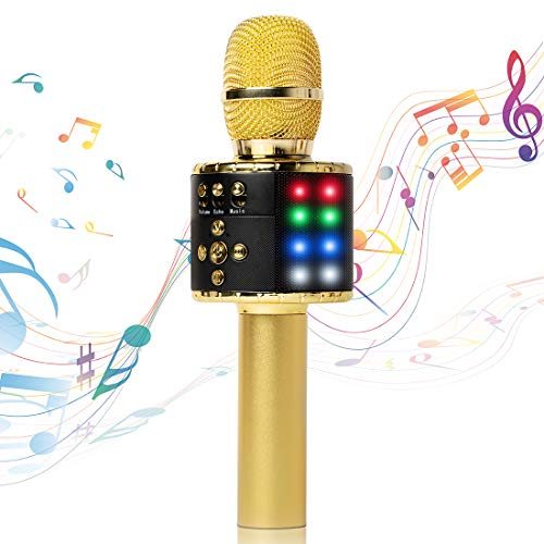 Fifth Avenue-Store Wireless Bluetooth Karaoke Microphone with Multi-color LED Lights, 4 in 1 Portable Handheld Home Party Karaoke Speaker Machine for Android/iPhone/iPad/Sony/PC(Golden)