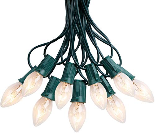 C9 String Lights Outdoor UL Listed Hanging Lights for Garden Patio Backyard Cafe Party Room Decoration, Green Wire, 100 Bulbs