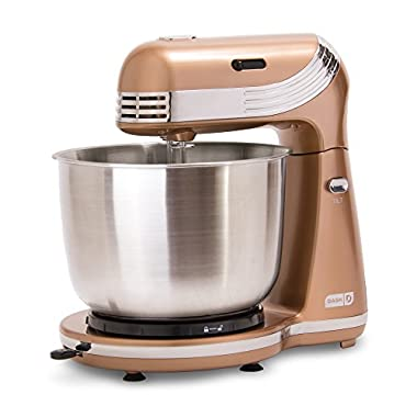 Dash Stand Mixer (Electric Mixer for Everyday Use): 6 Speed Stand Mixer with 3 qt Stainless Steel Mixing Bowl, Dough Hooks & Mixer Beaters for Dressings, Frosting, Meringues & More - Copper