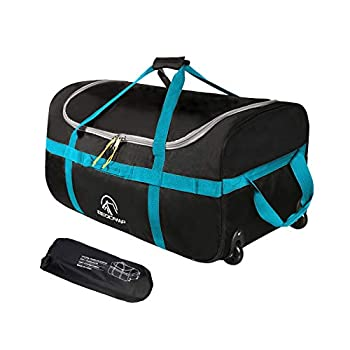 REDCAMP 85L Foldable Duffle Bag with Wheels 26  1680D Oxford Collapsible Large Duffel Bag with Rollers for Camping Travel Gear Black