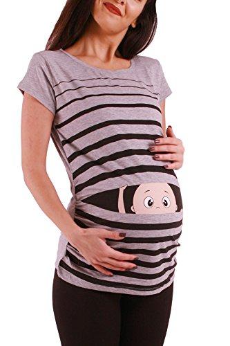 Ropa premamá Divertida y Adorable, Camiseta con Estampado, Regalo Durante el Embarazo - Manga Corta (Gris, Large)