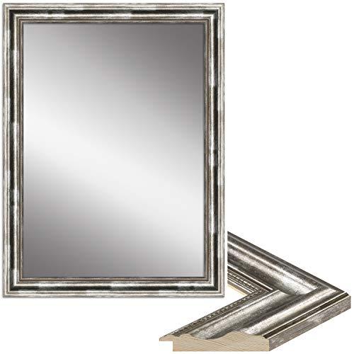 WANDStyle Spiegel Barock und Antik I Außenmaß: 80x110cm I Farbe: Silber I silberner Wandspiegel aus Holz I Made in Germany I H550