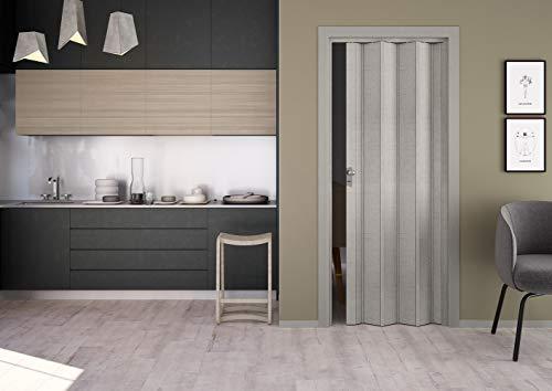 Porta s Soffietto in PVC Maya Tessuto Grigio 83x214 con Serratura