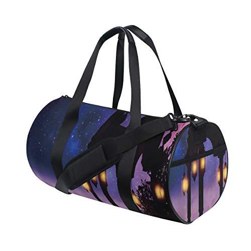 PONIKUCY Sporttasche Reisetasche,Romantische Pavillon Betrachtungs Plattform mit der Retro Lampe,die Fantasie glänzt,bewölkt Himmel Nacht,Schultergurt Handgepäck für Übernachtung Reisen