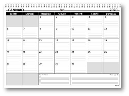 Planning mensile 21x30 GREY bi-annuale (2021 + 2022) SPIRALATO (24 fogli da 160 gr) agenda da tavolo mensile