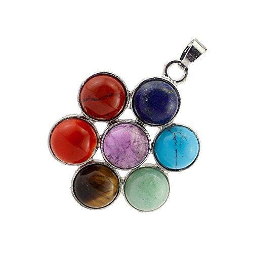 Contever 7 pierres Chakras Reiki Guérison Équilibrage Pendentif Alliage insérer Perles naturelles Cristal Précieuses pour Collier Bijoux -- Fleur Ronde Style