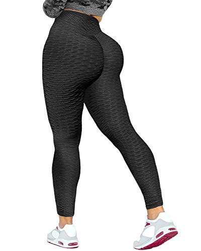 Jenbou Anti Cellulite Workout Leggings for Women Ruched Butt Lifting Yoga Pants Tummy Control Tight Leggings Black