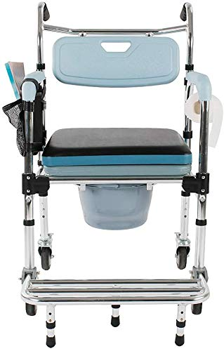Wintue 4 in 1 Shower Chair Bedside Commode with Casters and Padded Seat Folding Rolling Transport Chair Lockable Wheelchair Bedside Toilet Seat for Patient Handicap Disabled Seniors - 350LBS Capacity