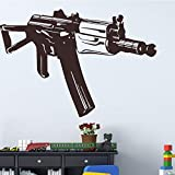 Tianpengyuanshuai Machine Gun Mount Etiqueta de la Pared removible Arma Calcomanía de Pared 36X24cm