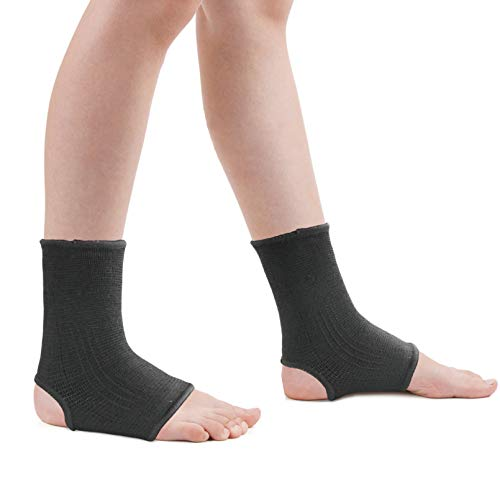 Luwint kid Compression Ankle Brace - Knitted Ankle Sleeve Sock Support for Sprains Arthritis Tendonitis Running Fitness, 1 Pair Black