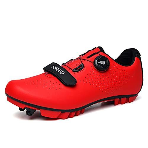 Gogodoing Zapatillas de Ciclismo de Bicicleta de Montaña para Hombre Compatibles con SPD-SL y Zapatillas de Ciclismo de Interior para Mujer Resistentes al Desgaste con Tacos
