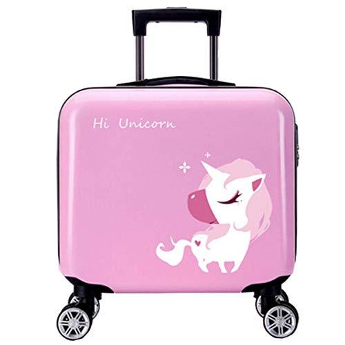 ANGELCITY 子供用 スーツケース キッズキャリー キャリーケース キャリ ーバッグ トランク 機内持ち込み 動物柄 可愛い おもちゃ箱 女の子 男の子 キッズ用 旅行かばん 誕生日プレゼント 軽量 旅行 小型 A1940 (ピンクの夢のようなユニコ
