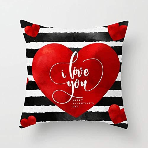 Fundas Para Cojines,Almohada Cojín Tapas De Almohadón Cuadrado Patrón Individual Imprimir Corazón Rojo Con Letras Blancas Decorativas Para Sofás Camas Sillas Funda De Cojín De 18 X 18 Pulgadas