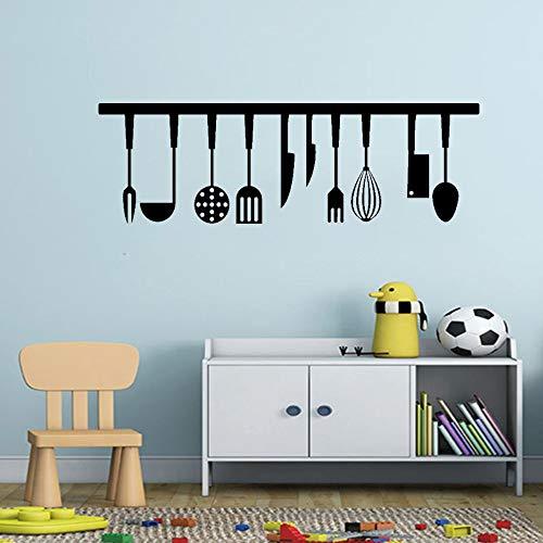 Kitchen Gadgets Restaurant Wall Stickers Kitchen Home Decor Mural Spoon Spatula Slotted Spoon Kitchen Sticker A9 30X94CM