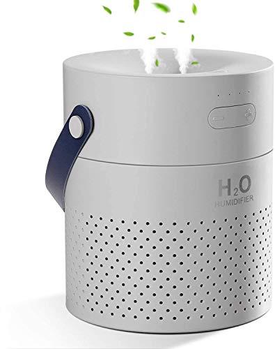 SmartDevil Luftbefeuchter 1100 ml,tragbarer wiederaufladbarer Luftbefeuchter mit 4000 mAh Batterie, Nachtlichtfunktionen, automatische Abschaltung für Schlafzimmer, Büro,Ätherisches Öl verboten - Grau
