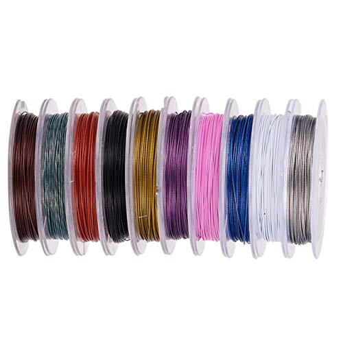 k2-accessories  10 x 10m Mix Pack Tiger Tail Beading Wire 0.38mm = 100m Mixed Colours (Crafts - Jewellery Making Beads - Fashion Charms - Jewelry Accessories - Jewellery Findings) D1