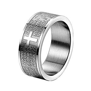 JewelryWe Schmuck Herren-Ring, Damen-Ring, Edelstahl, Bibel Gebet Kreuz, Silber, Größe 62