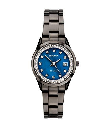 Sekonda Dames Analoog Quartz Horloge met Blauwe Moeder van Parel Wijzerplaat 2972
