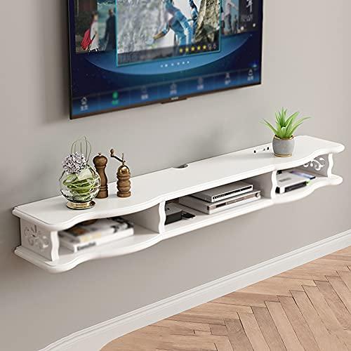 Mueble de TV montado en la pared con estante flotante, gabinete colgante moderno minimalista para sala de estar y dormitorio, estante de almacenamiento de componentes de TV/White / 120cm