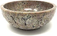 Soapstone Floral Design Handmade Scrying & Smudge Bowl