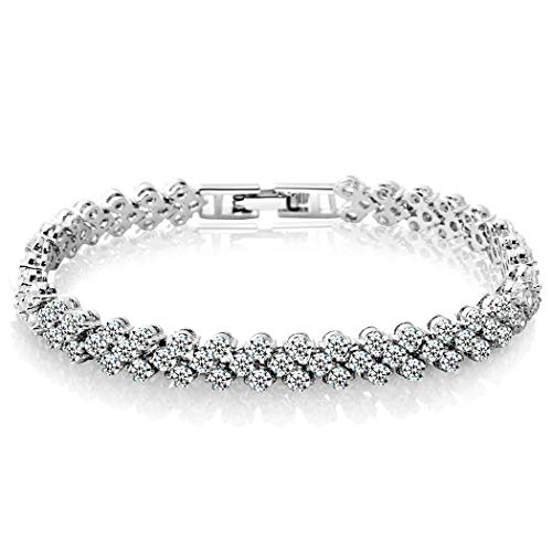 Edary Crystal Tennis Bracelet Cubic Zirconia Bridal Bracelet Rhinestone Bridesmaids Hand Chain, Diamond Hand Accessories Wedding Gift Jewelry for Women and Girls