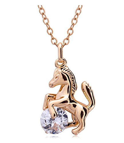Celebrity Jewellery Gold Plated Ciondolo Cavallo con Un Piccolo Collana Strass per Le Donne CBJE0055