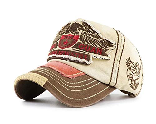 CHENNUO Vintage Basecap Distressed Snapback Caps Trucker Hat Baumwolle Baseball Cap Freizeit Outdoor Kappe Unisex (Beige)