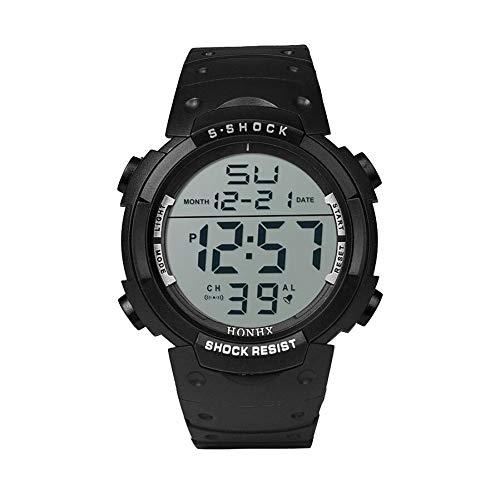 LYDBM Digital de Lujo del Reloj de la Manera Hombres Impermeables del Muchacho LCD Cronómetro Digital Fecha de Caucho Reloj Deportivo Reloj de Pulsera de Hombre Digitales (Color : A)