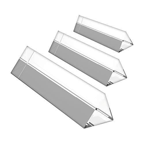 BELLE VOUS Kristallprisma (3 Stuck) - (15, 10, 6 cm) Kristall optisches Glas Dreieckiges Glas Prisma mit Geschenkbox - Prisma zum Unterrichten von Lichtspektrum Physik, Prisma Fotografie
