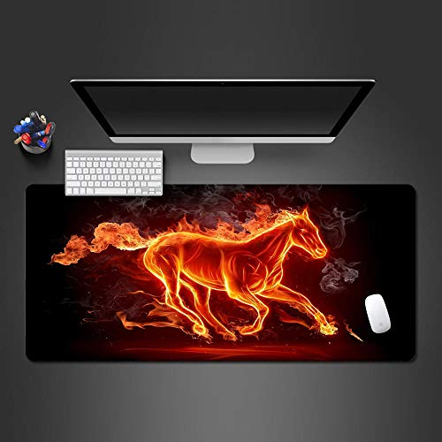 CQDSQN Tapis De Souris Gaming XL 700 X 300 X 3 mm Créativité Flamme Animal Cheval Tapis De Souris avec Ergonomique pour Ordinateur Portable Travail Jeu Maison Tapis De Souris Gaming S
