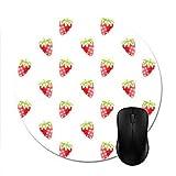 Alfombrillas para ratón Patrón de Fresa Acuarela Alfombrilla de ratón Redonda