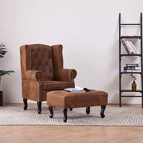 Tidyard Chesterfield-Sessel und Fußhocker Braun Wildleder-Optik Chesterfield Armchair with Footstool Relax Armchair Upholstered Chair Recliner Chair Lounge Chair