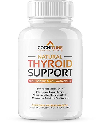 Natural Thyroid Support Complex Supplement with Iodine - Premium Energy, Metabolism, Focus, Weight Loss - Vegetarian Formula with Vitamin B 12, Magnesium, Selenium, Ashwagandha - 60 Capsules
