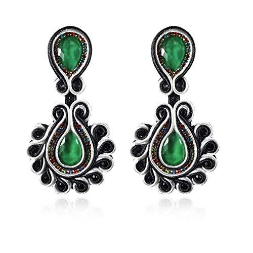 Gymqian Drop Earrings Women Ethnic Style Simple Temperament Leather Long Earrings Jewelry for Women Soutache Handmade Production Big Drop Earring Purple (Zi) Decorations/Green (Lv