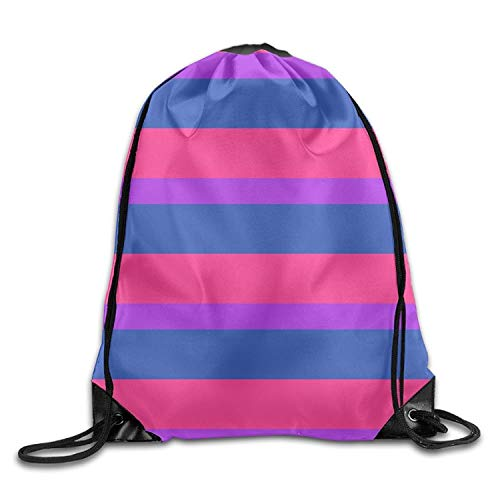 ZHIZIQIU Bisexual Pride Flag Drawstring Pack Beam Mouth Sport Bag Rucksack Shoulder Bags For Men & Women