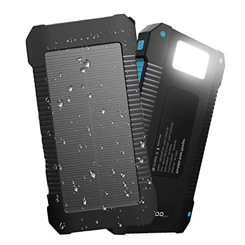 Innoo Tech Solar-Ladegerät 20000mAh, tragbare Powerbank mit externer Batterie und Schutzart IP65 (stoßfest, wasserdicht, Staubdicht), LED-Anzeigen für Android-Telefone, Apple, Lautsprecher