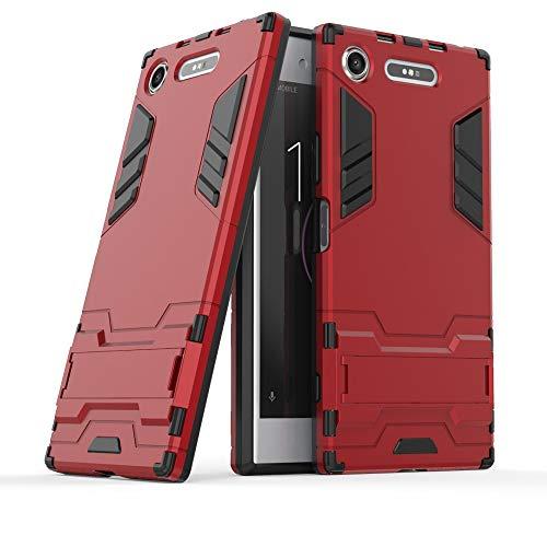 COOVY® Étui pour Sony Xperia XZ1 Coque Antichoc 2X Couche de Plastique + Silicone TPU, boîtier extrêmement Solide, Station Debout | Rouge