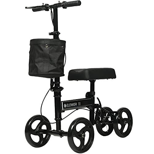 ELENKER Economy Knee Scooter, Steerable Knee Walker, Foldable Knee Scooters for Foot Injuries Best Crutches Alternative Black