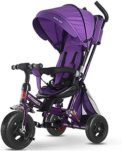 GIFT Kids Trike 2 In 1 Kinderwagen-Dreirad Mit Drehbarem Und Verstellbarem Sitz ZWeißege-Implementierung,lila