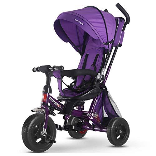 GIFT Tricycle Bébé Poussette Poussoir Kids Trike avec Siège Pivotant Et Inclinable,Purple