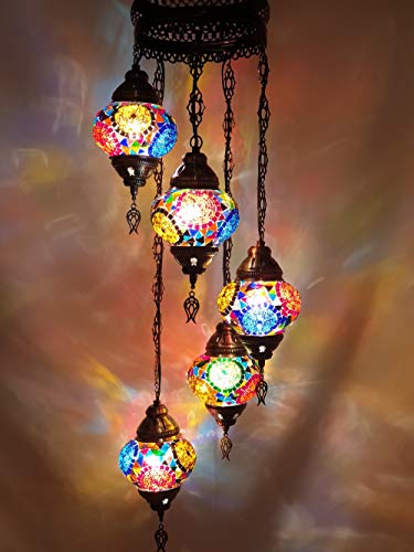 (Customizable Globes) DEMMEX 2019 Hardwired or PLUGIN 5 Globes Chandelier Lights Turkish Moroccan Mosaic Ceiling Hanging Pendant Chandelier Light Lighting (Hardwired)