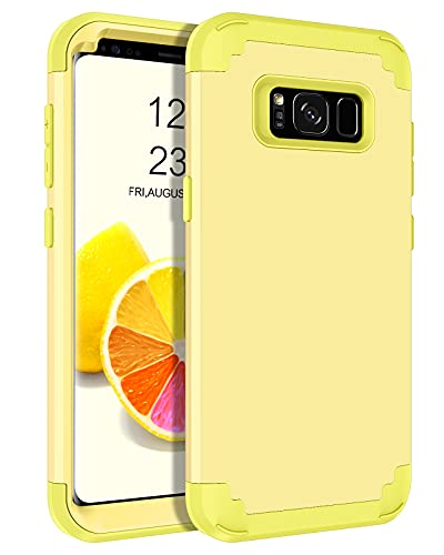 BENTOBEN Case for Galaxy S8 5.8', Heavy Duty Full Body Rugged Shockproof Hybrid Three Layer Hard Plastic Soft Rubber Bumper Protective Phone Cases Cover for Samsung Galaxy S8 5.8', Yellow/Lemon