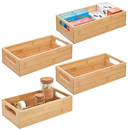 mDesign Juego de 4 cajas de bambú con asas – Práctica cesta guardatodo abierta para útiles de oficina – Cajón organizador de escritorio de madera para bolígrafos y otros elementos – color natural