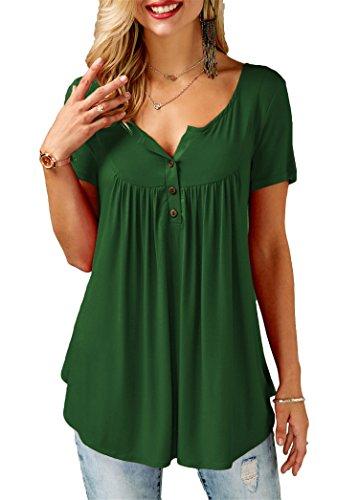 KISSMODA Einfarbige T-Shirts für Damen Kurzarm Tuniken Rundhals Henley Top XLarge
