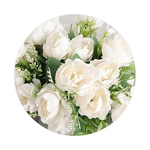 Sytaun 1 Unid Artificial Peony Blossom Fake Flower Home Wedding Party Decoración De Muebles Decoración De Pascua Fresca Y Simple Leche Blanca