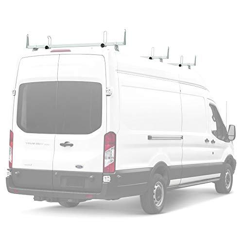 AA-Racks Model X202-TR Transit 2015-On Heavy Guage Steel 3 Bar Van Roof Rack System w/Ladder Stopper White (Roof Rack For Ford Transit Connect Van)